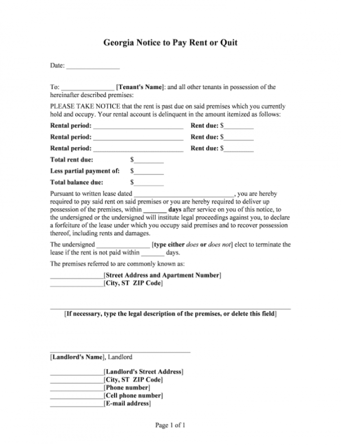 Editable Georgia Notice To Quit  Fill Online Printable Fillable Eviction Notice Template Ga