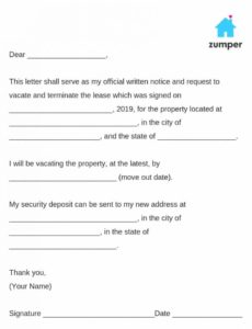 editable how to give written notice to your landlordnotice to giving 30 day notice to landlord template doc