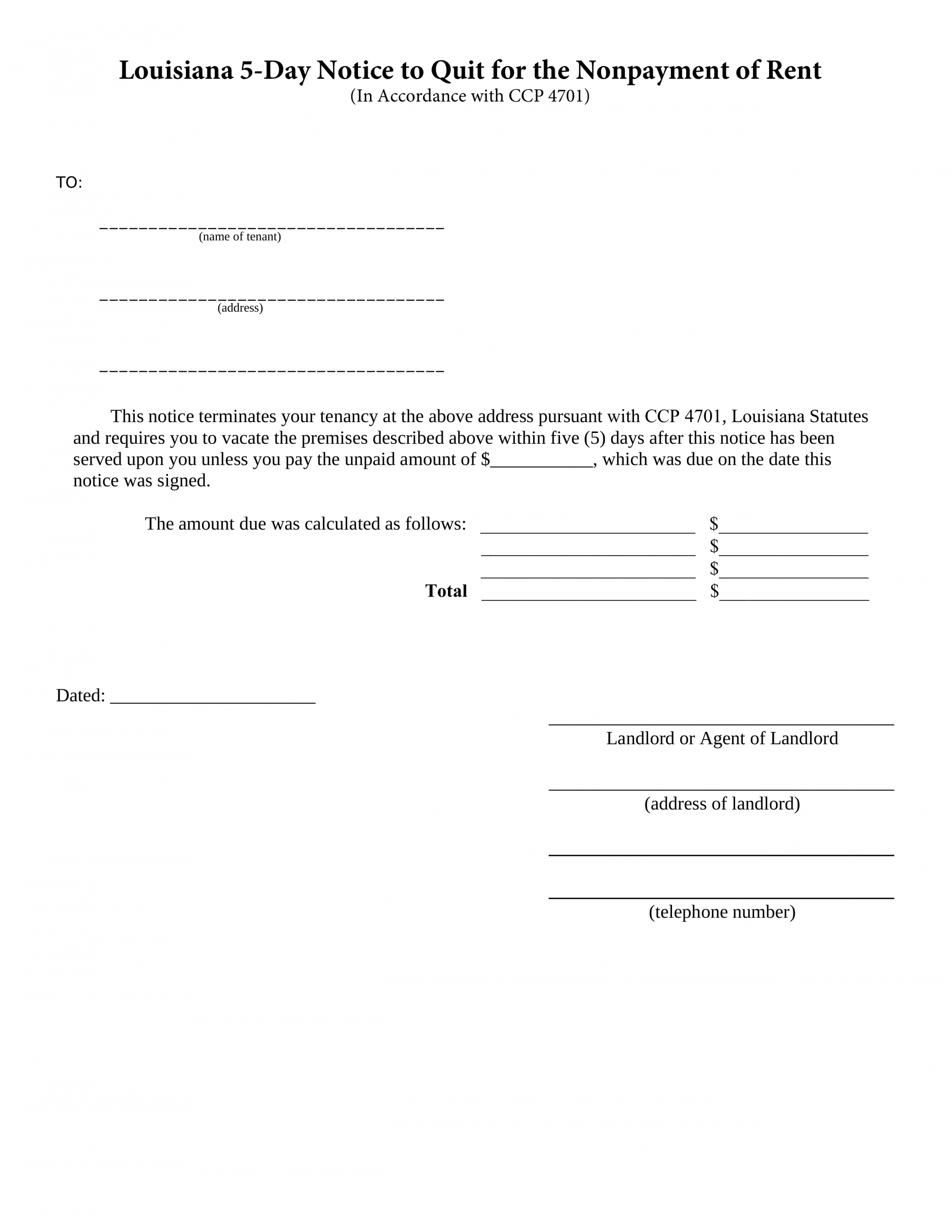 editable louisiana 5day notice to quit form  nonpayment of rent louisiana eviction notice template word