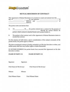 editable mutual rescission of contract form  legal forms and notice of rescission template sample
