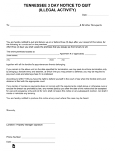 editable tennessee 3day notice to quit form  illegal behavior tn eviction notice template sample