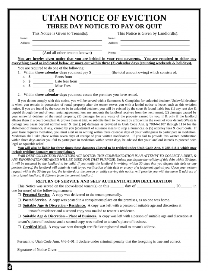 Editable Utah 3 Day Notice To Quit Form  Nonpayment  Eforms  Free Utah Eviction Notice Template Doc