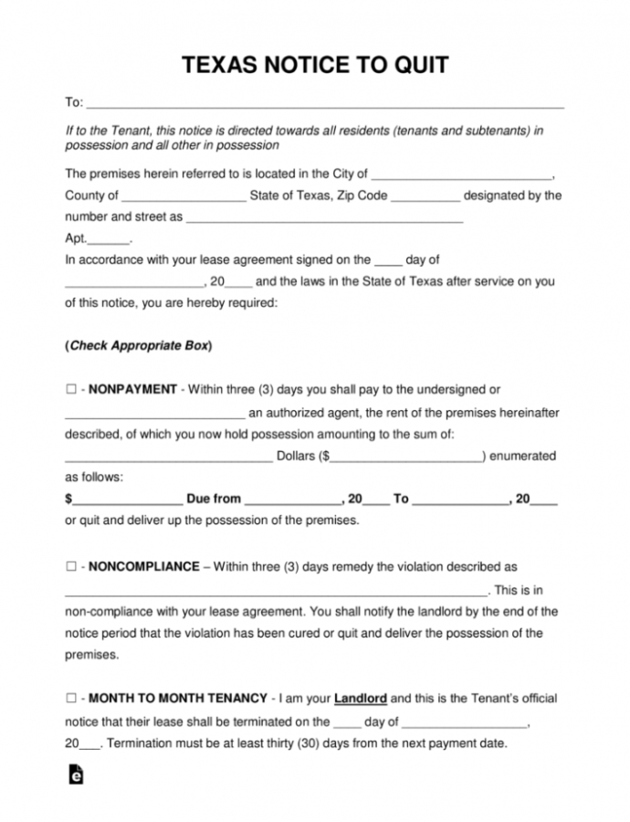 Free 3 Day Notice To Vacate Texas Form  Vexilor Pos 30 Day Notice To Vacate Texas Template Doc