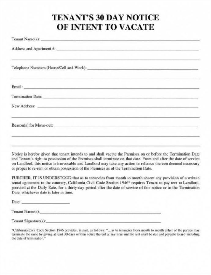 Free 30 Day Notice Template  Temisvar 30 Day Notice From Tenant To Landlord Template Sample