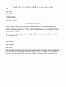 free 30 sample landlord letters to tenants  pryncepality vacate notice to landlord template