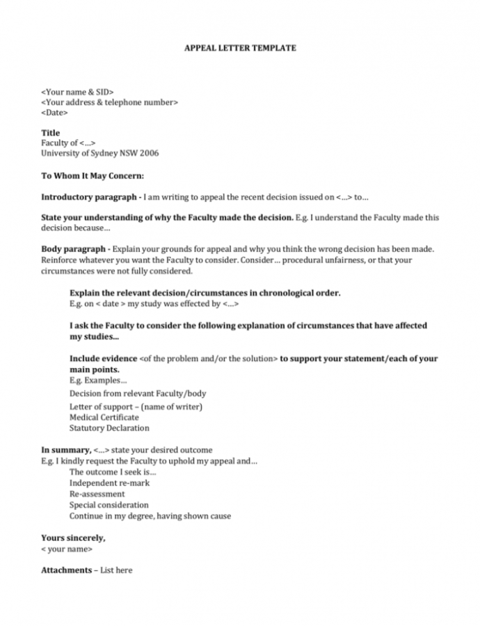 Free Click Here To An Appeal Letter Template Word Doc Notice Of Appeal Template Word