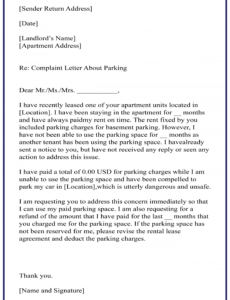 free complaint letter parking warning notice template