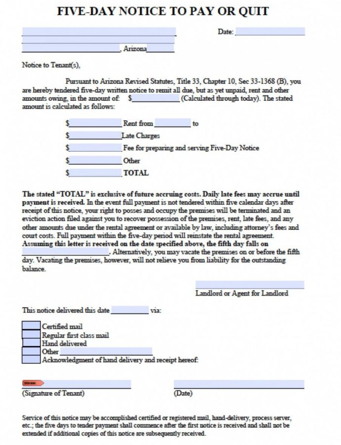 Free Free Arizona Five 5 Day Notice To Quit  Nonpayment Of Eviction Notice Arizona Template Word