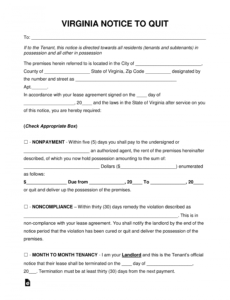 free free virginia eviction notice forms  process and laws  pdf pay or quit notice virginia template sample