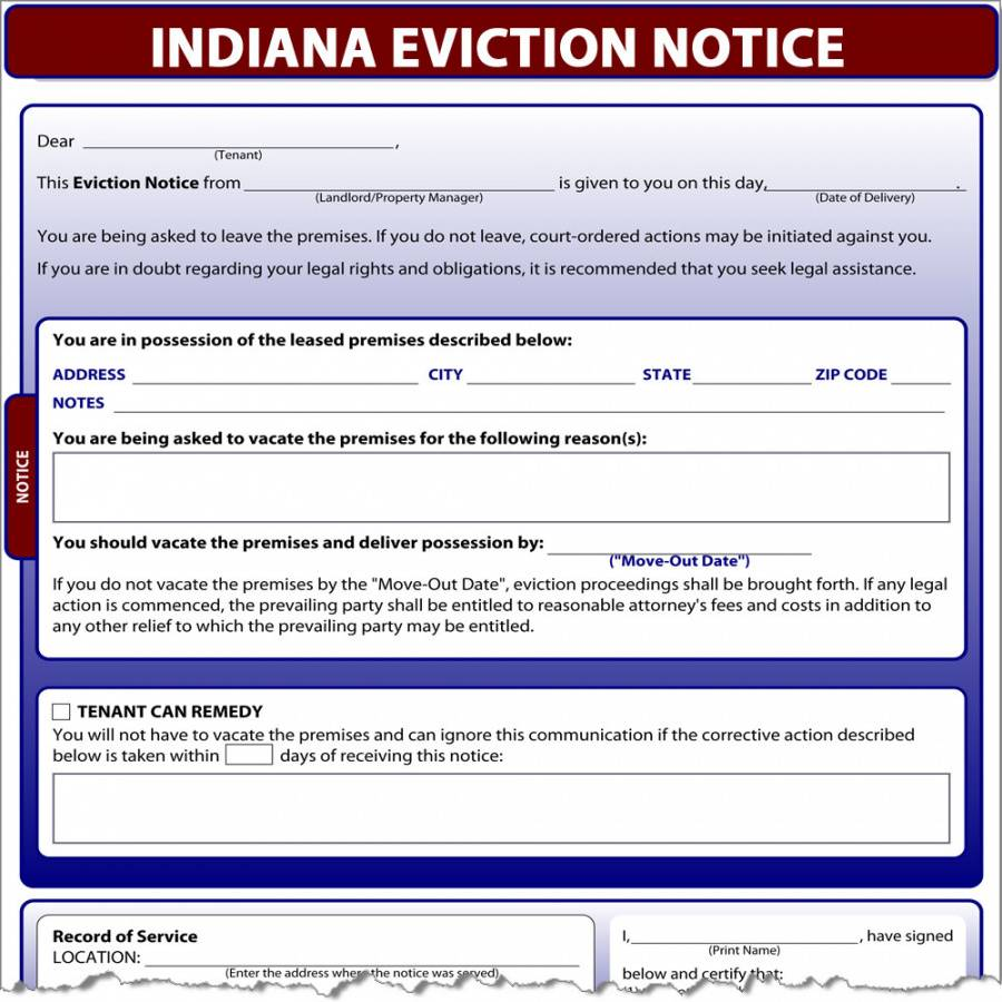 free indiana eviction notice  simplifyem eviction notice indiana template word