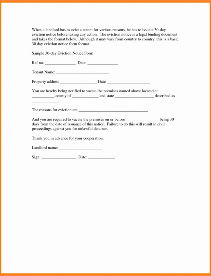 Free Lease Termination Letter Tenant Notice Of Rental From Rental Eviction Notice Template PDF