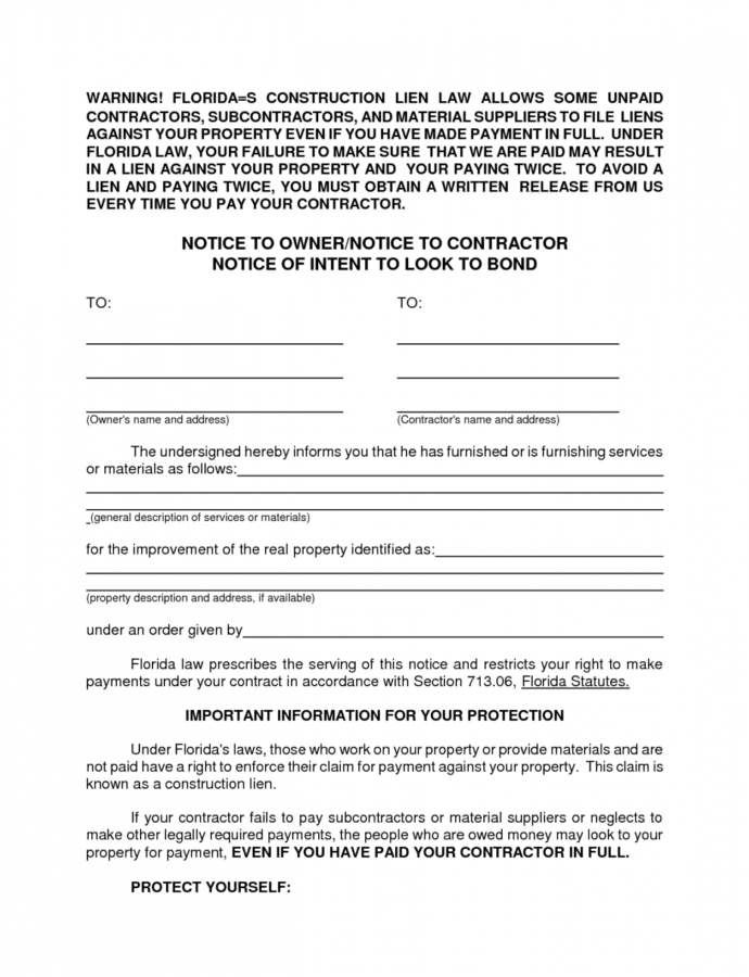 Free Letter Of Intent To File A Lien Template Examples  Letter Florida Notice Owner Template Doc