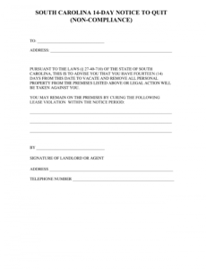 free south carolina 14day notice to quit form  noncompliance sc eviction notice template example