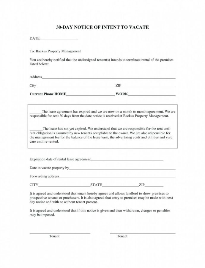 Letter To Vacate Template  Wecolorco 30 Day Intent To Vacate Notice Template PDF