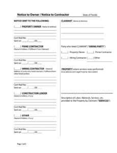 notice to owner florida form  fill online printable florida notice owner template pdf