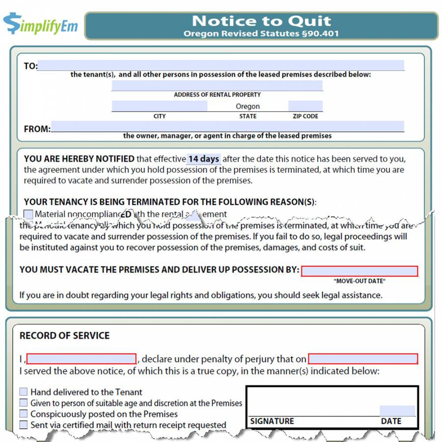 oregon notice to quit  simplifyem eviction notice oregon template sample