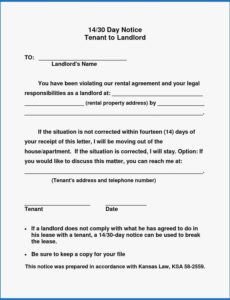 printable 016 day notice to landlord california template pleasant 30 day written notice to landlord template doc