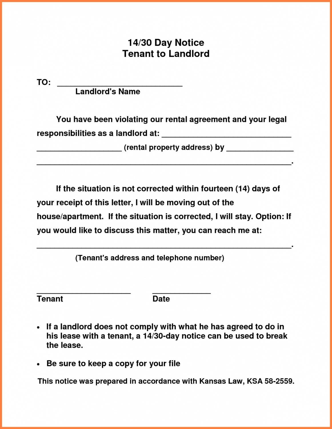 printable 30 day notice letter to landlord vacate tenant template 30 day vacate notice template doc