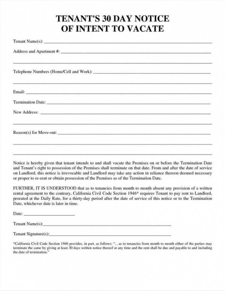 printable 30 day notice template  temisvar tenant 30 day notice to vacate california template example