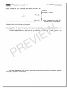 printable blumberg new york civil court legal forms notice of appearance template example