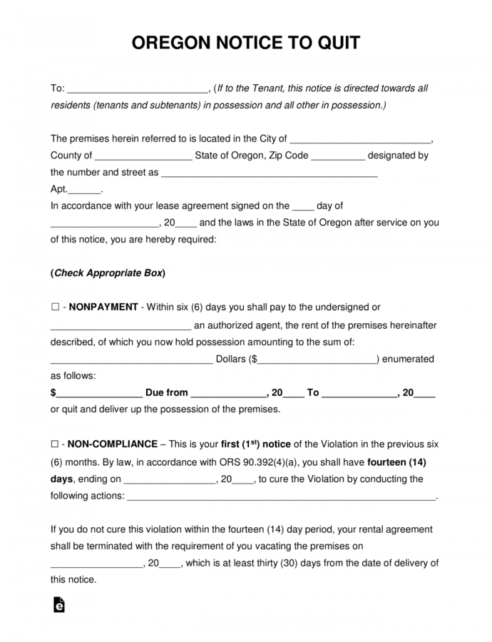 Printable Free Oregon Eviction Notice Forms  Process And Laws  Pdf Eviction Notice For Roommate Template