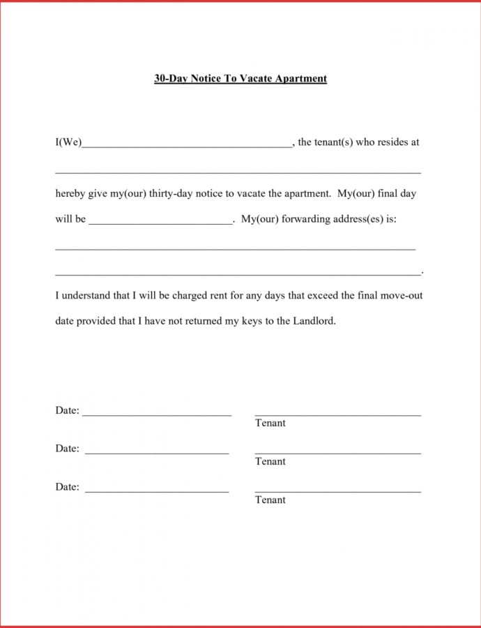 Printable Mail Letter Format Apartment Resume Templates Landlord 30 Day Notice From Tenant To Landlord Template Sample