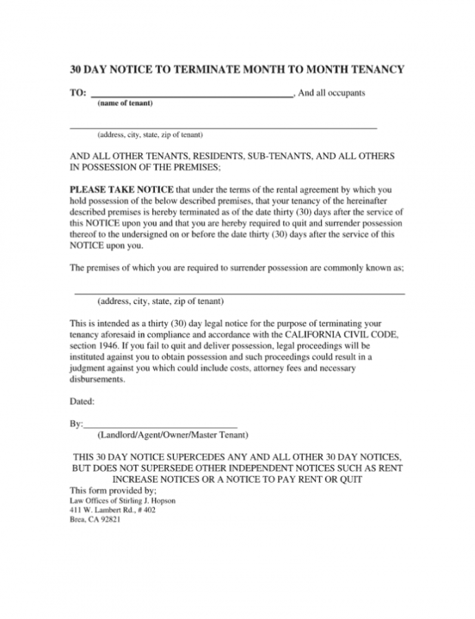 Printable Notice For Termination Without Cause Month To Month Tenancy 60 Day Notice To Terminate Lease Template Word