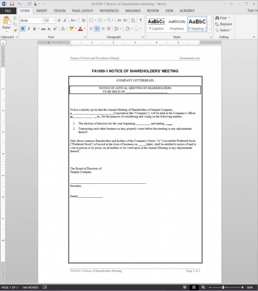 printable shareholders meeting notice template  fa10501 notice of annual meeting template pdf