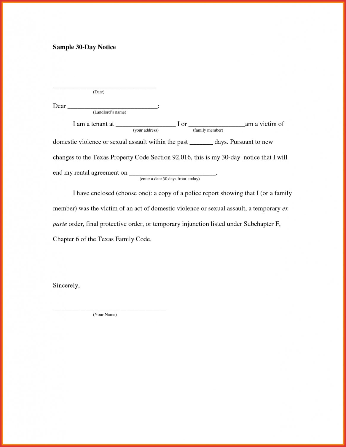 Printable Unique 30 Day Notice Letter Job Latter 30 Day Notice To ...