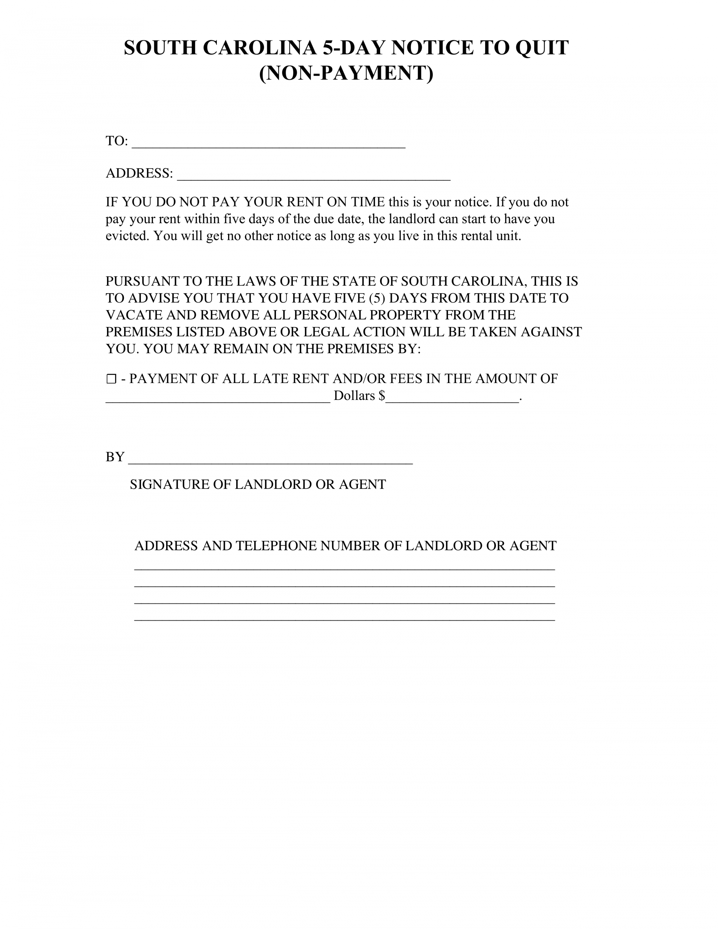 south carolina 5day notice to quit form  nonpayment sc eviction notice template pdf