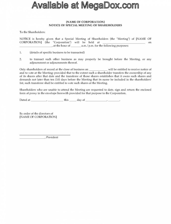 Special Shareholder Meeting Forms  Canada Notice Of Shareholders Meeting Template Word