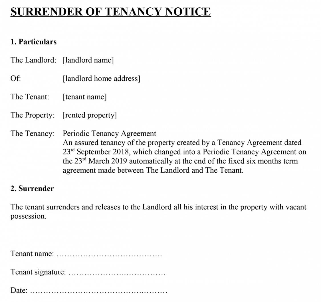 surrender of tenancy' notice for tenants notice to quit tenancy template letter word