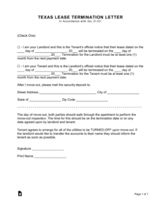 texas lease termination letter form  30day notice  eforms 30 day cancellation notice template word
