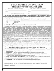 utah 3 day notice to quit form  nonpayment  eforms  free eviction notice utah template word